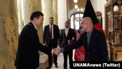 U.N. Security Council delagation meets with Afghanistan President Ashraf Ghani in Kabul, Jan. 15, 2018.