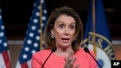 La présidente de la Chambre des représentants, Nancy Pelosi, lors d'une conférence de presse à Capitol Hill, à Washington, le 2 mai 2019.