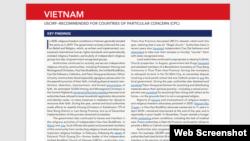 Phúc trình của USCIRF 2021 về tình hình tự do tôn giáo Việt Nam, ngày 21/4/2021.