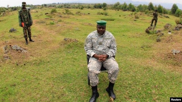 FILE - Congolese M23 rebel leader Bertrand Bisimwa speaks to the media in Bunagana, DRC.