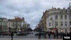 中国加强在立陶宛的间谍活动,成为立陶宛国家安全威胁。立陶宛首都维尔纽斯市中心。(美国之音白桦)