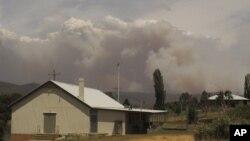 8일 호주 뉴사우스웨일스주 뉴머랄라 마을 뒤로, 산불로 발생한 연기가 피어오르고 있다.