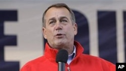 US House Republican Leader John Boehner speaks during a rally at the Muskingum County Fairgrounds in Zanesville, Ohio, 30 Oct 2010