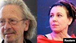 ادب کا نوبیل انعام حاصل کرنے والے دو مصنفین (بائیں) پیٹر ہینڈکی، (دائیں) اولگا ٹوکارچک، 10 اکتوبر 2019