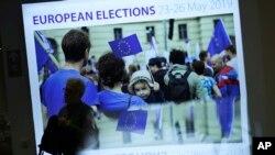 Papan pengumuman pelaksanaan Pemilihan Anggota Parlemen Eropa di Brussels, Belgia, 22 Mei 2019.