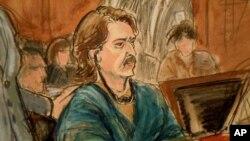 Viktor Bout retratado durante o julgamento
