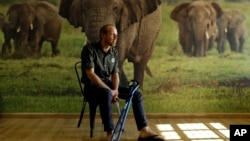 In this photo taken May 23, 2016, Erik Mararv, the manager of the Garamba National Park in Congo, is photographed against a poster backdrop of elephants during an interview with The Associated Press in Johannesburg, while recuperating from his injuries.