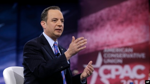Republican National Committee Chairman Reince Priebus speaks during the Conservative Political Action Conference (CPAC) at the D.C. suburb of National Harbor, Maryland, March 4, 2016.