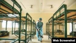 Ảnh tư liệu - Một phòng cách ly của Trung đoàn 59 thuộc Sư đoàn bộ binh 301, đóng trên địa bàn huyện Chương Mỹ, Hà Nội. Photo Tuổi Trẻ Online.