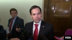 美國國會共和黨籍參議員魯比奧(Sen. Marco Rubio, R-FL)6月13日在國會山接受媒體採訪。