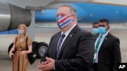 Ngoại trưởng Mike Pompeo rời Colombo, Sri Lanka, chuẩn bị lên máy bay đi Maldives, ngày 28/10/2020.