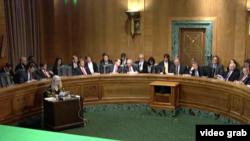 美国国会参议院银行业委员会就中兴修正案进行表决。(视频截图)