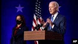 Kandidati demokrat për president Joe Biden duke folur gjatë orëve të vona të së premtes, 6 nëntor 2020, në Uillmington, Dellauer