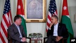 2月14日美国总统奥巴马在加州会晤到访的约旦国王阿卜杜拉二世