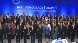 Leaders attending the Bali Democracy Forum pose for a group photo in Nusa Dua, Bali, Indonesia, Nov. 8, 2012.