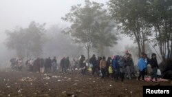 FILE - Migrants walk through a field trying to cross the border with Croatia near the village of Berkasovo, Serbia October 23, 2015.