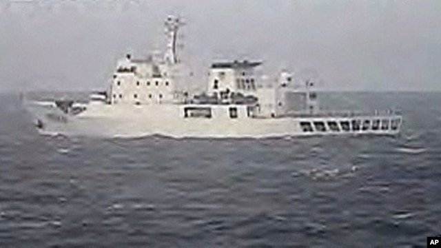 "Photo taken by Japanese Coast Guard shows Chinese fisheries patrol ship ""Yuzheng 310"" sailing near the disputed islands (2010 File)"