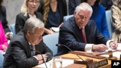 유엔 안보리가 개최한 북한 핵 문제 관련 장관급 회의에서 발언하고 있는 안토니우 구테흐스 유엔 사무총장(자료사진)