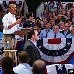 M. Obama, à Cannon Falls, Minnesota (15 août 2011)