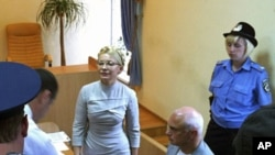 Former Ukrainian Prime Minister Yulia Tymoshenko (C) attends a court hearing at the Pecherskiy District Court in Kiev August 8, 2011