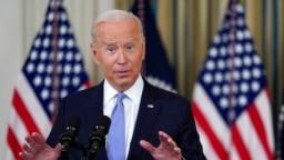 Presiden AS Joe Biden berbicara mengenai beberapak hal termasuk respon terhadap pandemi dalam acara di Ruang Makan di Gedung Putih, Washington, 24 September 2021. (Foto: AP/Patrick Semansky)