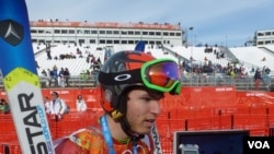Adam Lamhamedi, the Moroccan skier who finished 47th in the Giant Slalom, Feb 19, 2014 (VOA - P. Brewer)