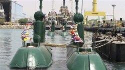 آرشیو: تصویری که وزارت دفاع جمهوری اسلامی آن را منتشر کرده و زیردریایی غدیر در بندرعباس را در تاریخ ۸ آگوست ۲۰۱۰ نشان می دهد