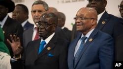 Presidents Robert Mugabe and Jacob Zuma of South Africa.