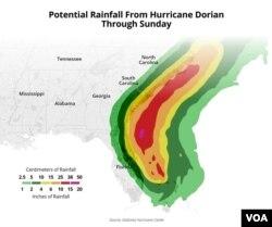 Potential rainfall from Hurricane Dorian, through Sunday, Sept. 8