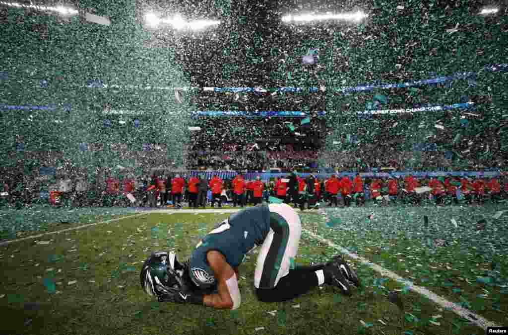 Philadelphia Eagles' Patrick Robinson celebrates winning Super Bowl LII, at U.S. Bank Stadium in Minneapolis, Minnesota, Feb. 4, 2018.