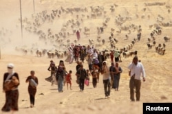 Displaced people from the minority Yazidi sect, fleeing violence from forces loyal to the Islamic State in Sinjar town, walk towards the Syrian border, on the outskirts of Sinjar mountain.