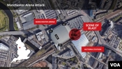 Map of Manchester Arena Bombing