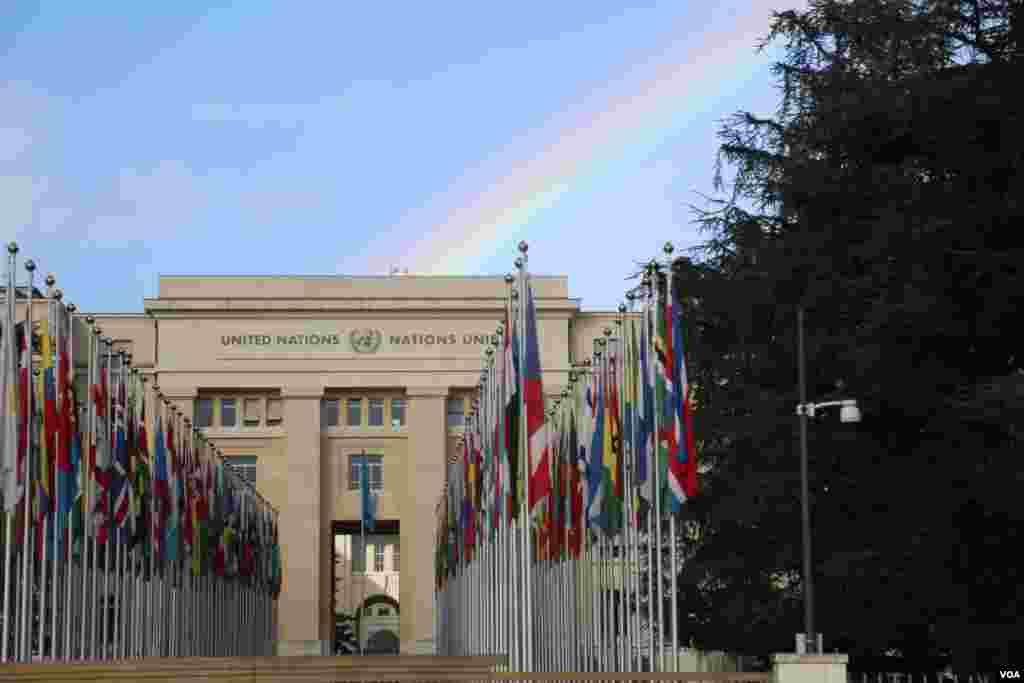 مقر کميسيون حقوق بشر سازمان ملل در ژنو.نشست شورای حقوق بشر سازمان ملل تا ۲۷ ماه مارس، هشتم فروردین ماه، در این ساختمان در شهر ژنو برگزار میشود. عکس: محمد حسن مقصودلو