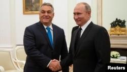 지난해 9월 블라디미르 푸틴 러시아 대통령(오른쪽)과 빅토르 오르반 헝가리 총리가 모스크바에서 만나 정상회담을 했다.