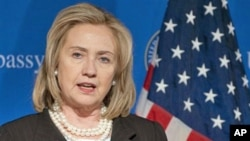 US Secretary of State Hillary Rodham Clinton, during a press conference at the US Embassy in Berlin, Germany, April 15, 2011