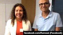 Виконавча директорка FluroSat Анастасія Волкова та виконавчий директор Microsoft Сатья Наделла. Фото зі сторінки компанії FluroSat у соціальній мережі Facebook.