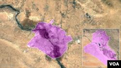 Letak kota Mosul dan Bashiqa di Irak.
