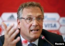 Tổng thư ký FIFA Jerome Valcke phát biểu tại cuộc họp báo trong chuyến thăm thành phố Samara, một trong những địa điểm tổ chức World Cup 2018 của Nga, 10/6/2015.