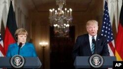 خانم مرکل و آقای ترمپ در جریان کنفرانس خبری مشترک در قصر سفید