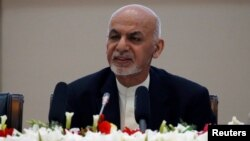 Afghan President Ashraf Ghani speaks during a peace and security cooperation conference in Kabul, Afghanistan, Feb. 28, 2018.