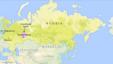 Peta wilayah Rusia dengan letak kota Moskow, St. Petersburg, dan Yekaterinburg.