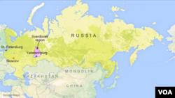 러시아 모스크바, 상트페테르부르크, 예카테린부르크 지역.
