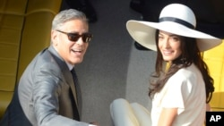 Джордж Клуни и Амаль Аламуддин. Венеция, Италия. 29 сентября 2014 г.