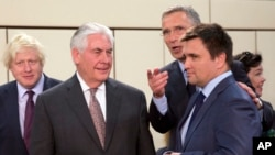 Bosh diplomat Reks Tillerson, NATO Bosh kotibi Yens Stoltenberg, Ukraina Tashqi ishlar vaziri Pavlo Klimkin