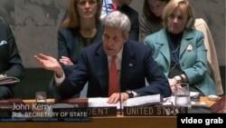 美国国务卿克里针对叙利亚问题发表看法。联合国即将就叙利亚政治过渡举行谈判。(VOA视频截图)