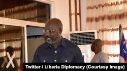 Le président libérien George Weah, à Monrovia, Libéria, 9 mars 2018 (Twitter / Liberia Diplomacy).