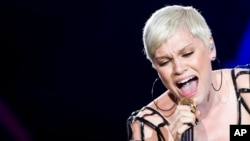 Jesse J performs during the Rock in Rio music festival in Rio de Janeiro, Brazil, Sept. 15, 2013.