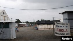 FILE - The Ebola virus treatment center in Paynesville, Liberia, is seen in a July 16, 2015, photo. It was formally decommissioned and demolished Wednesday.