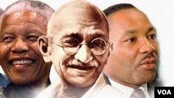 از راست: مارتین لوتر کینگ، مهاتما گاندی و نلسون ماندلا. رهبران جنبش عدم خشونت