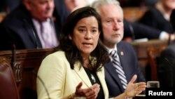 Bộ trưởng Tư pháp Canada Jody Wilson-Raybould nói về dự luật hỗ trợ tự tử với sự giúp đỡ y tế của chính phủ tại Thượng viện ở Ottawa, Ontario, ngày 1 tháng 6 năm 2016.